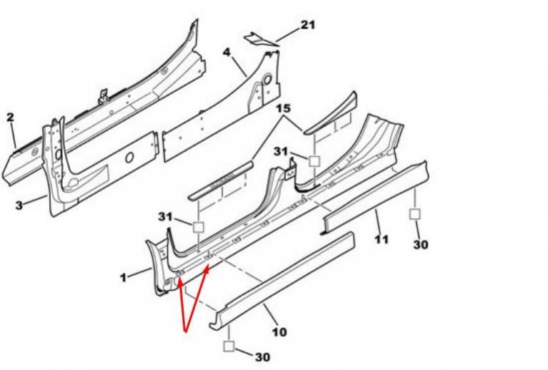 Carrosserie C5 phase 1 : fixation jupes latérales bas de